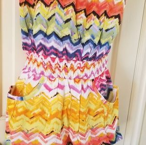 Nwt love by chesley colorful romper jumsuit pocket